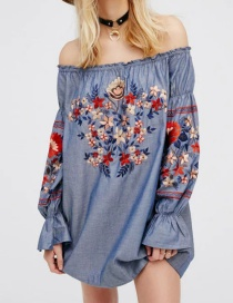 Lovely Blue Embroidered Fabric Shape Decorated Simple Off Shoulder Blouse