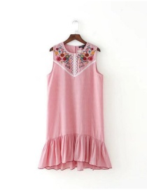 Lovely Pink Embroidered Fabric Decorated Sleeveless Dress