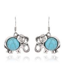 Fashion Blue Round Gemstone Decorated Elephant Shape Earrings