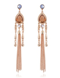 Fashion Champagne Long Tassel Decorated Pure Color Earrings