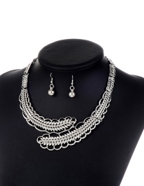 Elegant Silver Color Leaf Shape Decorated Jewelry Sets
