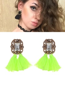 Bohemia Fluorescent Green Tassel Decorated Earrings