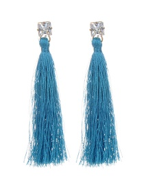 Bohemia Blue Long Tassel Decorated Earrings