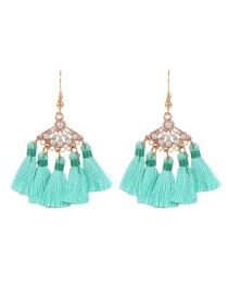 Bohemia Green Fan Shape Decorated Tassel Earrings