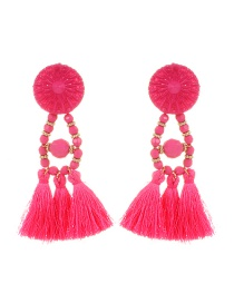 Bohemia Plum-red Tassel Decorated Pure Color Earrings