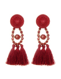Bohemia Red Tassel Decorated Pure Color Earrings