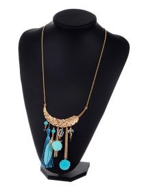 Bohemia Blue Feather Decorated Pom Necklace