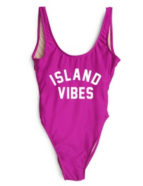Lovely Plum-red Letter Decorated Swimsuit