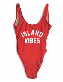 Lovely Red Letter Decorated Swimsuit