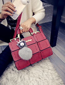 Fashion Red Fuzzy Ball Decorated Grid Shape Shoulder Bag