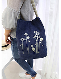 Fashion Sapphire Blue Flower Pattern Decorated Simple Shoulder Bag
