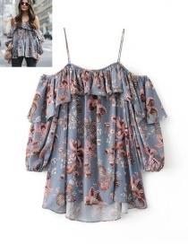 Fashion Blue Flower Pattern Decorated Lotus Leaf Design Camisole Shirt