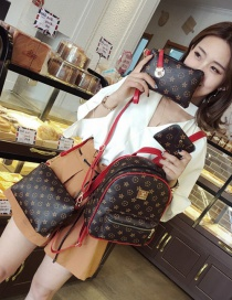 Fashion Red Flower Pattern Decorated Simple Backpack(4pcs)