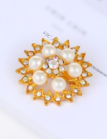 Fashion Gold Color Pearls&diamond Decorated Square Shape Brooch