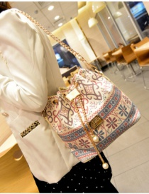 Fashion Multi-color Flower Pattern Decorated Bucket Shape Shoulder Bag