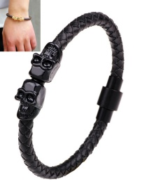 Fashion Black Skull Decorated Hand-woven Magnetic Buckle Bracelet