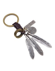 Fashion Silver Color Leaf&circular Ring Decorated Simple Keychain