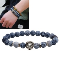 Fashion Dark Gray Lion Decorated Pure Color Simple Bracelet