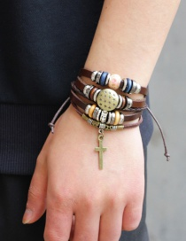 Fashion Brown Cross Pendant Decorated Multi-layer Bracelet