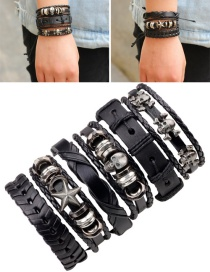 Fashion Black Skull Decorated Pure Color Bracelet(6pcs)