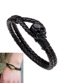Fashion Black Skull Decorated Double Layer Bracelet