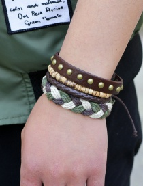 Fashion Brown Rivet Decorated Weave Multi-layer Bracelet