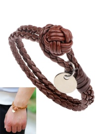 Fashion Brown Wafer Decorated Weave Pure Color Bracelet