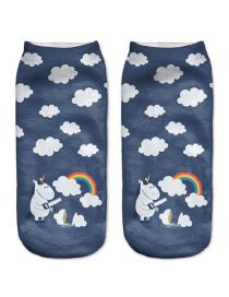 Fashion Navy Printing Cloud Pattern Decorated Color Matching Sock