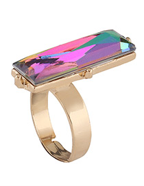 Fashion Multi-color Square Shape Diamond Decorated Simple Ring