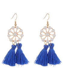 Fashion Sapphire Blue Pearls&tassel Decorated Hollow Out Earrings