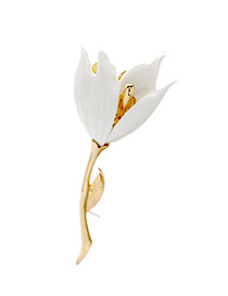 Fashion White Flower Decorated Pure Color Simple Brooch