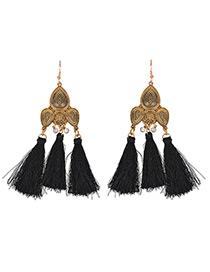 Fashion Black+gold Color Tassel Pendant Decorated Pure Color Earrings
