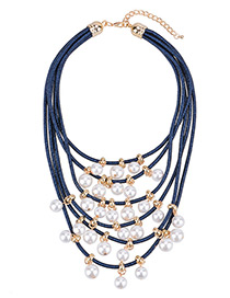 Fashion Blue Pearls Decorated Multi-layer Necklace