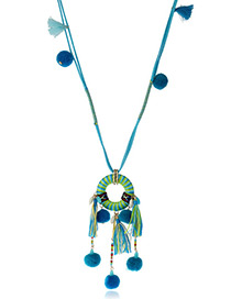 Vintage Blue Fuzzy Ball&tassel Decorated Pom Necklace