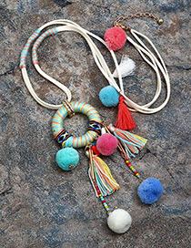 Vintage Multi-color Fuzzy Ball&tassel Decorated Pom Necklace
