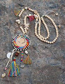 Trendy Multi-color Tassel&shell Pendant Decorated Simple Necklace