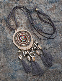 Fashion Gray Tassel&shell Pendant Decorated Long Necklace
