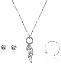 Fashion Silver Color Wing Pendant Decorated Simple Necklace(3pcs)