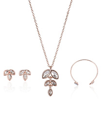 Fashion Rose Gold Leaf Pendant Decorated Pure Color Necklace (3pcs)