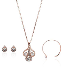 Fashion Rose Gold Pearls&diamond Decorated Hollow Out Necklace (3pcs)