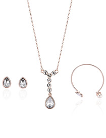 Fashion Rose Gold Water Drop Shape Diamond Decorated Necklace (3pcs)