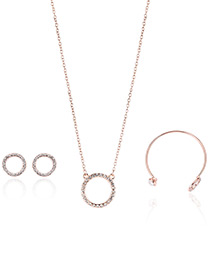 Fashion Rose Gold Circular Ring Decorated Pure Color Necklace (3pcs)