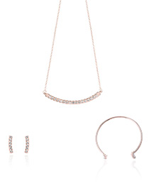 Fashion Rose Gold Diamond Decorated Pure Color Necklace (3pcs)