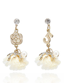 Fashion Beige Flowers&pearls Decorated Simple Earrings