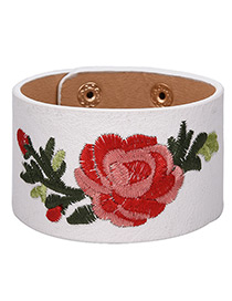 Fashion White Embroidery Flower Decorated Width Bracelet