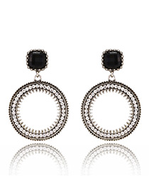 Fashion White Circular Ring Decorated Simple Earrings