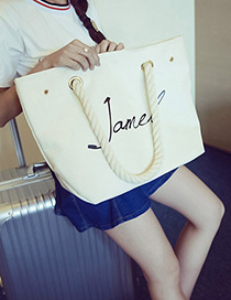 Trendy White Letter Pattern Decorated Pure Color Shoulder Bag