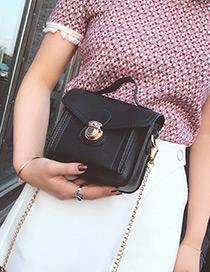 Trendy Black Buckle Decorated Pure Color Shoulder Bag