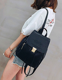 Fashion Black Buckle Decorated Pure Color Backpack
