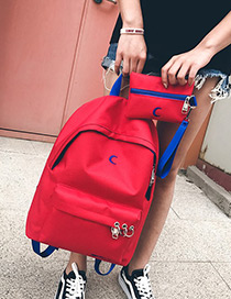 Fashion Red Circular Ring Decorated Pure Color Backpack (2 Pcs)